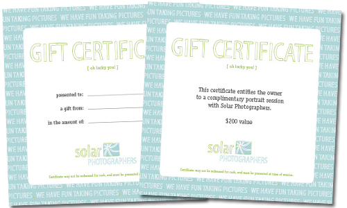 solar photographers gift certificates