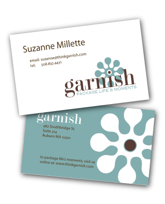 thinkgarnish.com business cards designed by a girl named fred