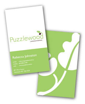 Puzzlewood Communication business cards designed by A Girl Named Fred