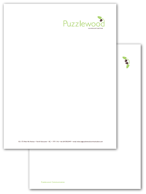 Puzzlewood Communication letterhead designed by A Girl Named Fred