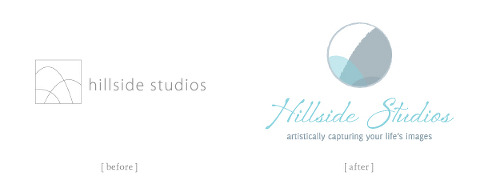Hillside Studios logo before and after