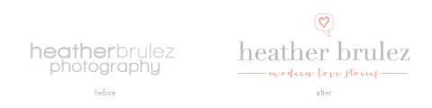 heather brulez photography logo before and after